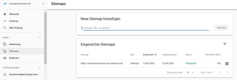 Screenshot Google Search Console XML-Sitemap